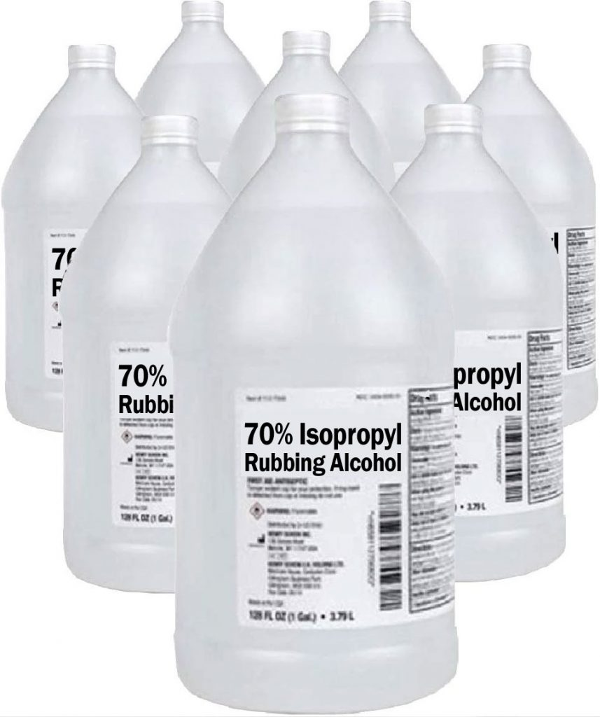 70 percent isopropyl rubbing alcohol for cleaning